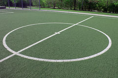 Soccer field with medium circle Royalty Free Stock Images