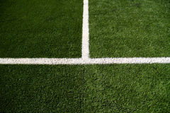 Soccer Field Mid Line. Closeup on white soccer field lines stock images