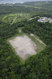 A soccer field in the middle of the rain forest. Stock Photo