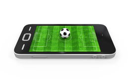 Soccer Field in Mobile Phone Royalty Free Stock Photography