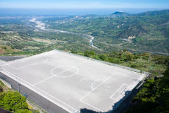 Soccer Field on Mountain Stock Image