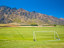 Soccer field in the mountains Royalty Free Stock Photography