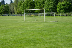 Soccer field and net at a park Stock Images