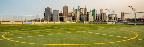Soccer field and the New York city skyline Stock Image