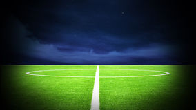 Soccer field night. Illustration of soccer field and soccer with night sky Stock Image