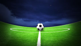 Soccer field night. Illustration of soccer field and soccer with night sky Stock Photos
