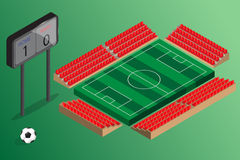 Soccer field outdoor stadium with red seat and score board Stock Photography
