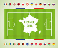 Soccer field with participating countries to the final soccer tournament of Euro 2016 in france.  Royalty Free Stock Photography