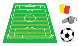 Soccer field in perspective. With the whistle and ball Vector Illustration