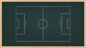 Soccer field plan for create soccer game tactic on blackboard. Stock Photography