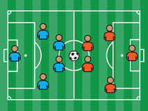 Soccer field with players and ball Royalty Free Stock Photography