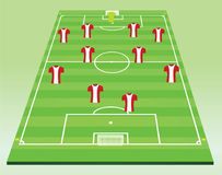 Soccer field with players Stock Images