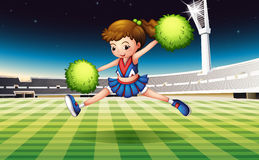 A soccer field with a pretty cheerdancer. Illustration of a soccer field with a pretty cheerdancer Royalty Free Stock Image