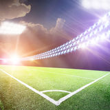 Soccer field with the projectors Stock Photo