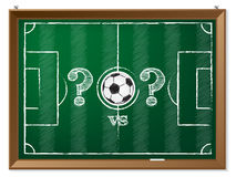 Soccer field with question mark vs question mark Stock Image