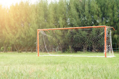 Soccer field with red gate Stock Images