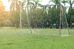 Soccer field with red gate Royalty Free Stock Photos