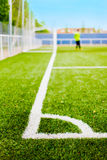Soccer Field's Lines and Goalkeeper Royalty Free Stock Photography