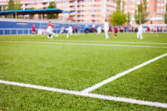 Soccer Field's Lines and Players Stock Images