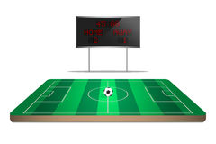 Soccer field with scoreboard Stock Images
