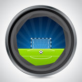 Soccer field seen through camera shutter Royalty Free Stock Photo