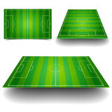 Soccer field set. Detailed illustration of a soccer field with different perspectives Stock Photo