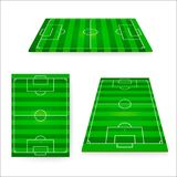 Soccer field set. Green european football field design element. Vector illustration isolated on white background.  Stock Image