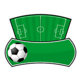Soccer field shield Royalty Free Stock Image