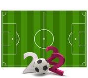 2022 soccer field soccer ball 3d illustration. Design Stock Photos