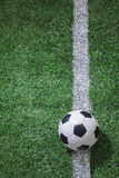Soccer field with soccer ball and line Stock Image