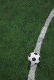 Soccer field with soccer ball and line Stock Photography