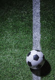 Soccer field with soccer ball and line Royalty Free Stock Photos