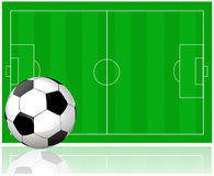 Soccer field and soccer ball Royalty Free Stock Images
