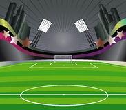 Soccer  field and stadium. Royalty Free Stock Image