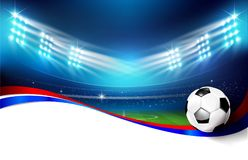 Soccer field with stadium 004. Soccer football stadium greeen grass field with spot light at night time vector illustration Royalty Free Stock Images