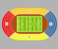 Soccer field  and stadium tribunes scheme. Stock Photos