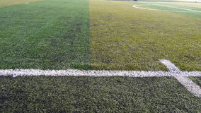 Soccer field striped grass Stock Photography