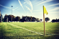 Soccer field at summer day (football field). Soccer field at sunny summer day (football field Royalty Free Stock Image