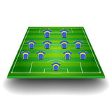 Soccer field with team formation Stock Photo