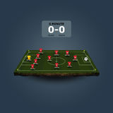 Soccer field with team formation Royalty Free Stock Image