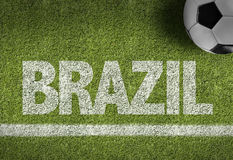 Soccer field with the text: Brazil Stock Photos