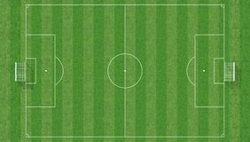 Soccer field from top view. Aerial view of a soccer field -3d rendering Stock Photo
