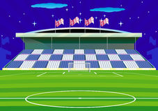 Soccer   field and tribunes. Soccer  field  with goal and tribune Royalty Free Stock Images