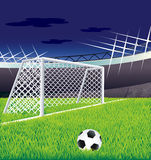 Soccer   field and tribunes. Soccer  field  with goal and tribunes Royalty Free Stock Photos
