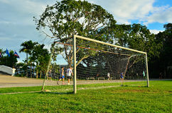 Soccer field in urban school Royalty Free Stock Images