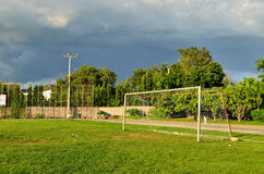 Soccer field in urban school. Thailand Royalty Free Stock Image