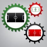 Soccer field. Vector. Three connected gears with icons at grayis vector illustration