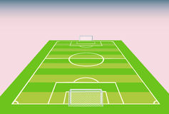 Soccer field  view from goal. Stock Photo