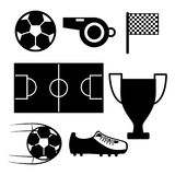 Soccer field whistle flag sneaker ball trophy pictogram. Vector illustration Stock Images