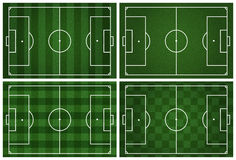 4 soccer field with white lines on grass Stock Images